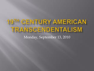 19th Century American Transcendentalism