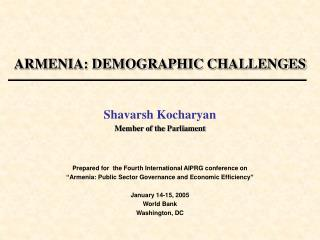 ARMENIA: DEMOGRAPHIC CHALLENGES