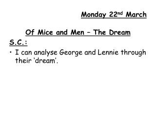 Monday 22nd March