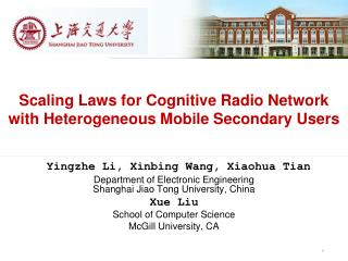 Scaling Laws for Cognitive Radio Network with Heterogeneous Mobile Secondary Users