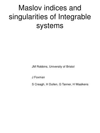 Maslov indices and singularities of Integrable systems
