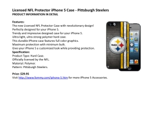 Licensed NFL Protector iPhone 5 Case - Pittsburgh Steelers