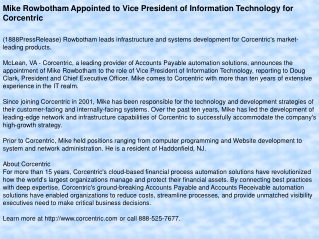Mike Rowbotham Appointed to Vice President of Information