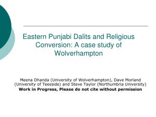 Eastern Punjabi Dalits and Religious Conversion: A case study of Wolverhampton