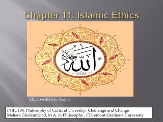 Chapter 11: Islamic Ethics