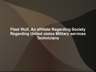 Fleet Wulf, An affiliate Regarding Society Regarding United