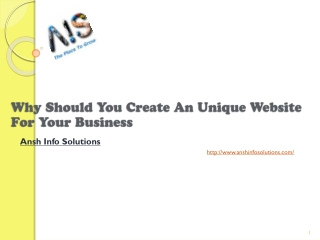 Why Should You Create An Unique Website For Your Business