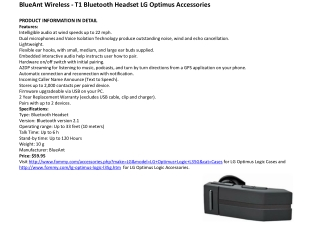 BlueAnt Wireless - T1 Bluetooth Headset LG Optimus Accessori