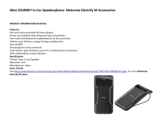 Abra JOURNEY In-Car Speakerphone- Motorola Electrify M Acces