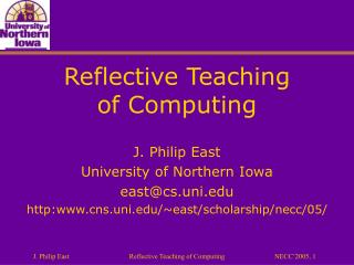 Reflective Teaching of Computing