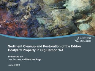 Sediment Cleanup and Restoration of the Eddon Boatyard Property in Gig Harbor, WA