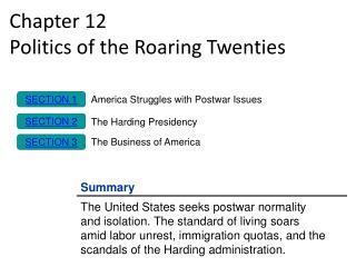 Chapter 12 Politics of the Roaring Twenties