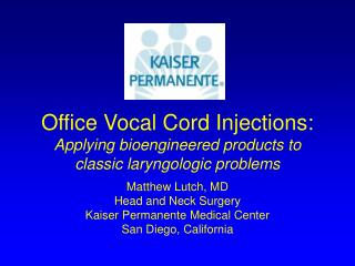 Office Vocal Cord Injections:  Applying bioengineered products to classic laryngologic problems
