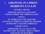 GROWING IN CHRIST HEBREWS 5:11-6:20