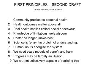 FIRST PRINCIPLES   SECOND DRAFT  Charles Medawar, Social Audit Ltd