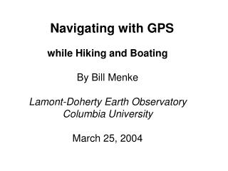 Navigating with GPS