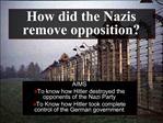 How did the Nazis remove opposition