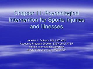 Chapter 11: Psychological Intervention for Sports Injuries and Illnesses
