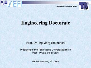 Prof. Dr.-Ing. J rg Steinbach  President of the Technische Universit t Berlin Past - President of SEFI  Madrid, February