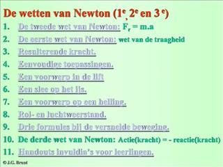 De wetten van Newton 1e, 2e en 3 e
