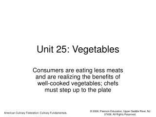 Unit 25: Vegetables