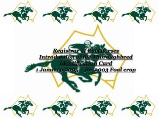 Registrar of Racehorses Introduction of the Thoroughbred  Identification Card 1 January 2005   for 2003 Foal crop