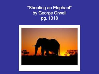 Shooting an Elephant  by George Orwell pg. 1018