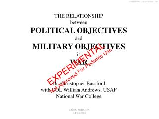 THE RELATIONSHIP between POLITICAL OBJECTIVES and MILITARY OBJECTIVES in WAR