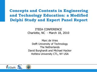 Concepts and Contexts in Engineering and Technology Education: a Modified Delphi Study and Expert Panel Report