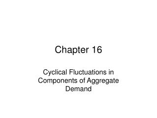 Cyclical Fluctuations in Components of Aggregate Demand