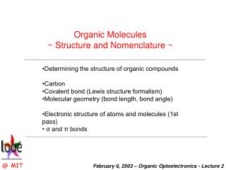 Organic Molecules  Structure and Nomenclature