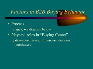 Factors in B2B Buying Behavior