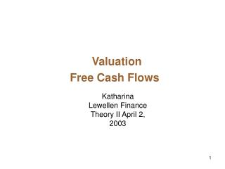 Valuation  Free Cash Flows