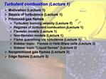 Turbulent combustion Lecture 1