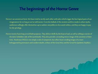 The beginnings of the Horror Genre