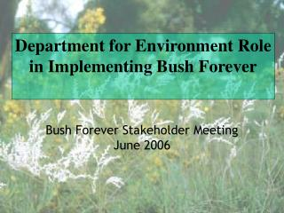 Department for Environment Role in Implementing Bush Forever