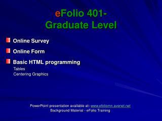 EFolio 401- Graduate Level