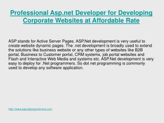 Hire Professional Asp.Net Programmer for Developing Corporat