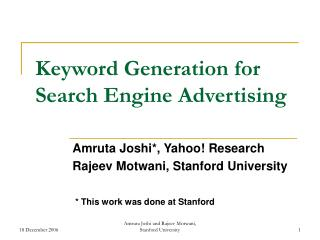 Keyword Generation for Search Engine Advertising