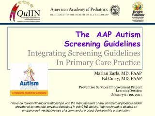 The  AAP Autism Screening Guidelines  Integrating Screening Guidelines  In Primary Care Practice