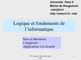 Logique et fondements de l informatique