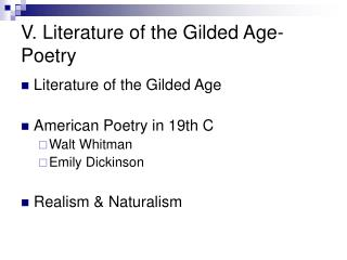 V. Literature of the Gilded Age- Poetry