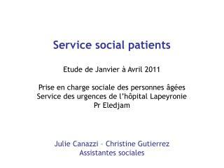 Service social patients   Etude de Janvier   Avril 2011   Prise en charge sociale des personnes  g es  Service des urgen