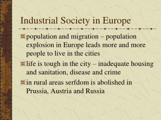 Industrial Society in Europe