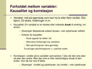 Forholdet mellom variabler: Kausalitet og korrelasjon