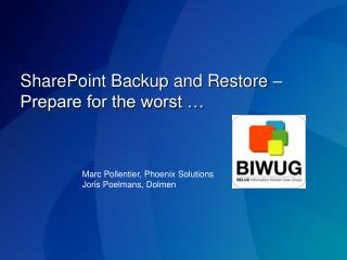 SharePoint Backup and Restore