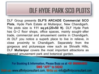 DLF Hyde Park SCO Plots @@9999684955 DLF Arcade Commercial