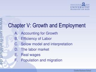 Chapter V: Growth and Employment