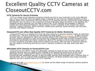 Excellent Quality CCTV Cameras at CloseoutCCTV.com