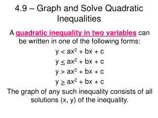 4.9   Graph and Solve Quadratic Inequalities